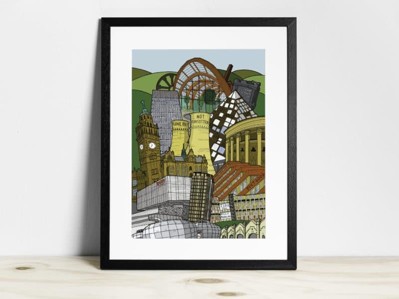 Sheffield cityscape framed print